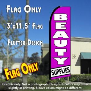 BEAUTY SUPPLIES (Purple/White) Flutter Feather Banner Flag (11.5 x 3 Feet)
