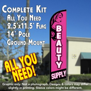 BEAUTY SUPPLY Windless Feather Banner Flag Kit (Flag, Pole, & Ground Mt)