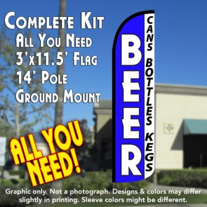 Beer (Cans, Bottles, Kegs) Windless Feather Banner Flag Kit (Flag, Pole, & Ground Mt)