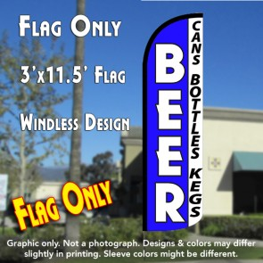 Beer (Cans, Bottles, Kegs) Windless Polyknit Feather Flag (3 x 11.5 feet)