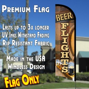 BEER FLIGHTS Premium Windless Polyknit Feather Flag (3 x 11.5 feet)