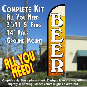 Beer (Gold) Windless Feather Banner Flag Kit (Flag, Pole, & Ground Mt)