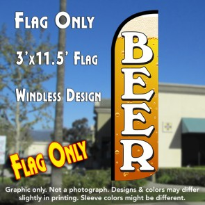 Beer (Gold) Windless Polyknit Feather Flag (3 x 11.5 feet)