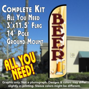 Beer (Mug) Windless Feather Banner Flag Kit (Flag, Pole, & Ground Mt)