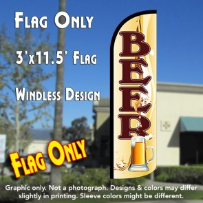 Beer (Mug) Windless Polyknit Feather Flag (3 x 11.5 feet)
