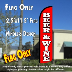 BEER & WINE (Red/White) Windless Polyknit Feather Flag (2.5 x 11.5 feet)