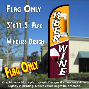 Beer Wine Windless Polyknit Feather Flag (3 x 11.5 feet)