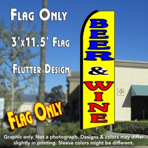BEER & WINE (Yellow) Flutter Feather Banner Flag (11.5 x 3 Feet)