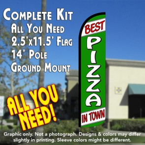 BEST PIZZA IN TOWN Windless Feather Banner Flag Kit (Flag, Pole, & Ground Mt)
