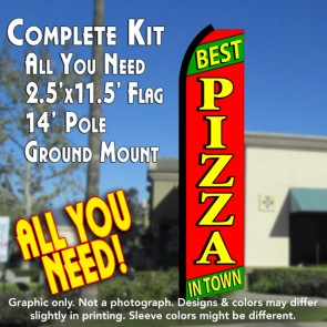 BEST PIZZA IN TOWN (Green/Red) Flutter Feather Banner Flag Kit (Flag, Pole, & Ground Mt)
