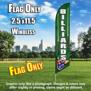 BILLIARDS Windless Feather Banner Flag Green