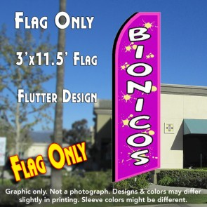 BIONICOS (Purple) Flutter Feather Banner Flag (11.5 x 3 Feet)