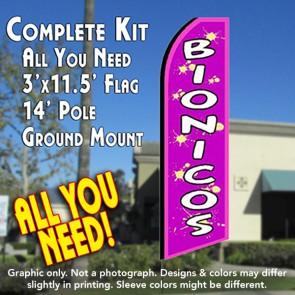 BIONICOS (Purple) Flutter Feather Banner Flag Kit (Flag, Pole, & Ground Mt)