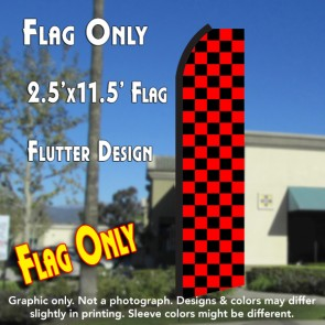 Checkered BLACK/RED Flutter Polyknit Feather Flag (11.5 x 2.5 feet)