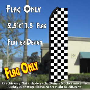 Checkered BLACK/WHITE Flutter Polyknit Feather Flag (11.5 x 2.5 feet)