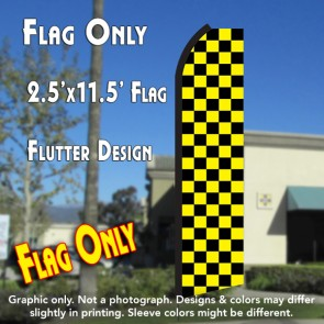 Checkered BLACK/YELLOW Flutter Polyknit Feather Flag (11.5 x 2.5 feet)