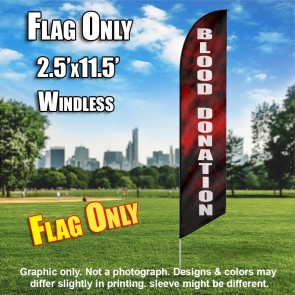 Blood Donation (Black with Red Smoke) Windless Polyknit Feather Flag (3 x 11.5 feet)