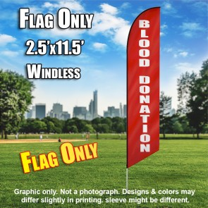 Blood Donation (Red/White) Windless Polyknit Feather Flag (3 x 11.5 feet)