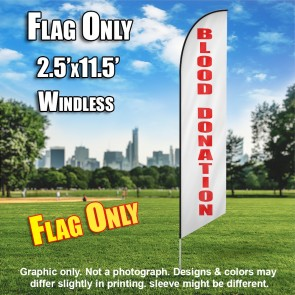 Blood Donation (Horizontal White/Red) Windless Polyknit Feather Flag (3 x 11.5 feet)