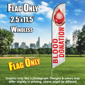 Blood Donation (White/Red with Hands) Windless Polyknit Feather Flag (3 x 11.5 feet)