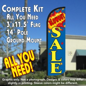 Blow Out Sale Windless Feather Banner Flag Kit (Flag, Pole, & Ground Mt)