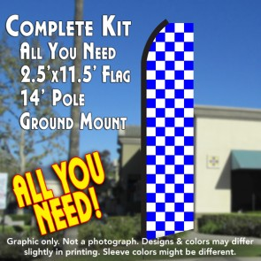 Checkered BLUE/WHITE Flutter Feather Banner Flag Kit (Flag, Pole, & Ground Mt)