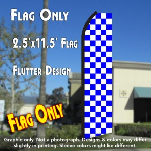 Checkered BLUE/WHITE Flutter Polyknit Feather Flag (11.5 x 2.5 feet)