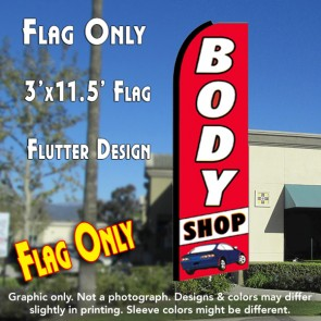BODY SHOP (Red/White) Flutter Feather Banner Flag (11.5 x 3 Feet)