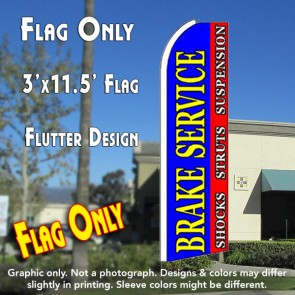 BRAKE SERVICE (Blue/Red) Flutter Feather Banner Flag (11.5 x 3 Feet)
