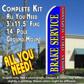 BRAKE SERVICE (Blue/Red) Flutter Feather Banner Flag Kit (Flag, Pole, & Ground Mt)
