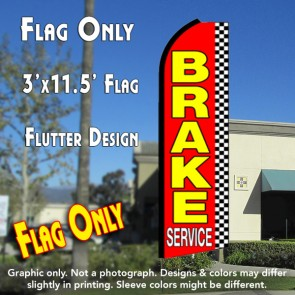 BRAKE SERVICE (Checkered) Flutter Feather Banner Flag (11.5 x 3 Feet)