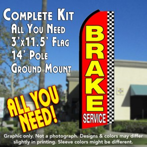 BRAKE SERVICE (Checkered) Flutter Feather Banner Flag Kit (Flag, Pole, & Ground Mt)