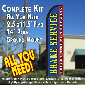 BRAKE SERVICE (Horiz) Windless Feather Banner Flag Kit (Flag, Pole, & Ground Mt)