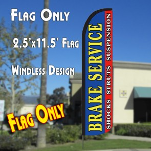 BRAKE SERVICE (Horiz) Windless Polyknit Feather Flag (2.5 x 11.5 feet)