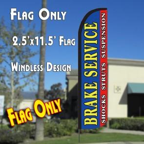 BRAKE SERVICE (Horiz) Windless Polyknit Feather Flag (2.5 x 11.5 feet)