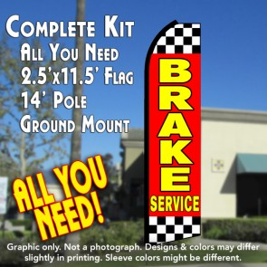 BRAKE SERVICE (Red/Checkered) Flutter Feather Banner Flag Kit (Flag, Pole, & Ground Mt)