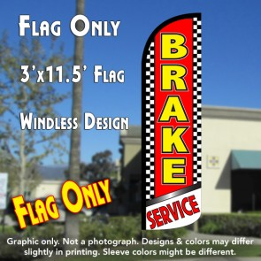 Brake Service (Checkered) Windless Polyknit Feather Flag (3 x 11.5 feet)