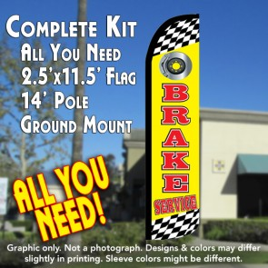 BRAKE SERVICE (Yellow) Windless Feather Banner Flag Kit (Flag, Pole, & Ground Mt)