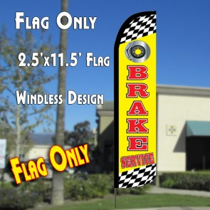 BRAKE SERVICE (Yellow) Windless Polyknit Feather Flag (2.5 x 11.5 feet)