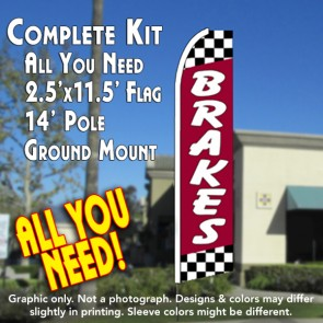 Brakes (Red/Checkered) Flutter Feather Banner Flag Kit (Flag, Pole, & Ground Mt)