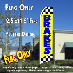 BRAKES (Yellow/Checkered) Flutter Feather Banner Flag (11.5 x 2.5 Feet)