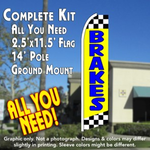 BRAKES (Yellow/Checkered) Flutter Feather Banner Flag Kit (Flag, Pole, & Ground Mt)
