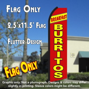 BREAKFAST BURRITOS (Yellow/Red) Flutter Polyknit Feather Flag (11.5 x 2.5 feet)