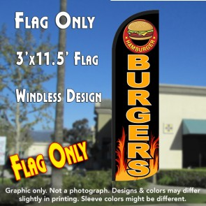 Burgers (Flames) Windless Polyknit Feather Flag (3 x 11.5 feet)