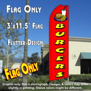 BURGERS (Red) Flutter Feather Banner Flag (11.5 x 3 Feet)
