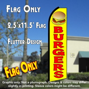 BURGERS (Yellow/Red) Flutter Polyknit Feather Flag (11.5 x 2.5 feet)
