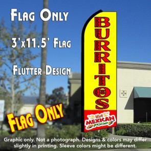 BURRITOS Hot Mexican Food (Yellow/Red) Flutter Feather Banner Flag (11.5 x 3 Feet)