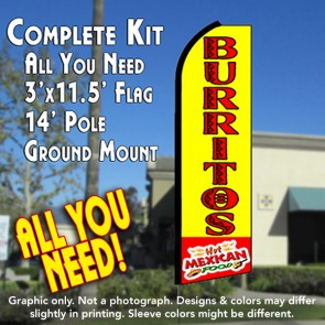 BURRITOS Hot Mexican Food (Yellow/Red) Flutter Feather Banner Flag Kit (Flag, Pole, & Ground Mt)