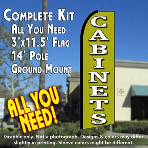 CABINETS (Green) Flutter Feather Banner Flag Kit (Flag, Pole, & Ground Mt)