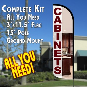 Cabinets Windless Feather Banner Flag Kit (Flag, Pole, & Ground Mt)